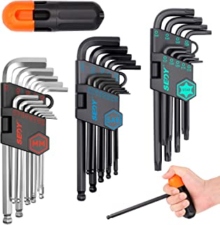 SEDY 36-Pieces Hex Key Allen Wrench Set, Long Arm Ball End Hex & Torx L-Key Set, SAE & Metric Hex, Star/Torx Allen Wrench Tool Set with Torque Handle and Black Storage Bag, S2 Steel