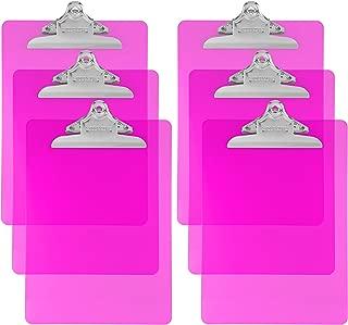 Trade Quest Plastic Clipboard Transparent Color Letter Size Standard Clip (Pack of 6) (Pink)