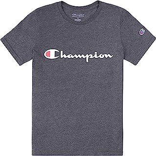 Champion Boys Heritage Short Sleeve Cotton Logo Tee Kids (Heritage Granite Heather, X-Large)