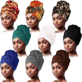 9 Pieces Women Head Wrap Scarf Turban Head Wrap Soft Long Head Scarves African Turban Head Wrap Pre-Tied Hair Scarf Headwe...