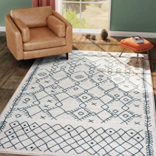 KSANA Moroccan Collection Carpet, Area Rugs for Living Room, Bedroom, Cream and Blue (5' x 7')