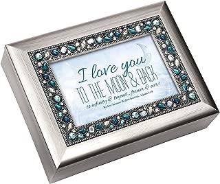 I Love You Moon & Back Brushed Silver Finish Jeweled Lid Jewelry Music Box Plays Tune Wonderful World