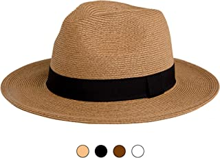 a8a3ce2b24b Pineapple Star-Sun Straw Fedora Beach Hat Fine Braid UPF50+ for Both Women  Men
