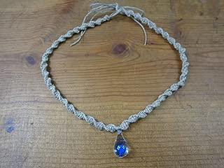 BEACH HEMP JEWELRY Mushroom Hemp Choker Necklace Dark Blue Glass Pendant Handmade In USA