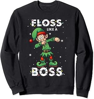 Elf Floss Like A Boss Christmas Pajama Boy Kid Flossing Xmas Sweatshirt