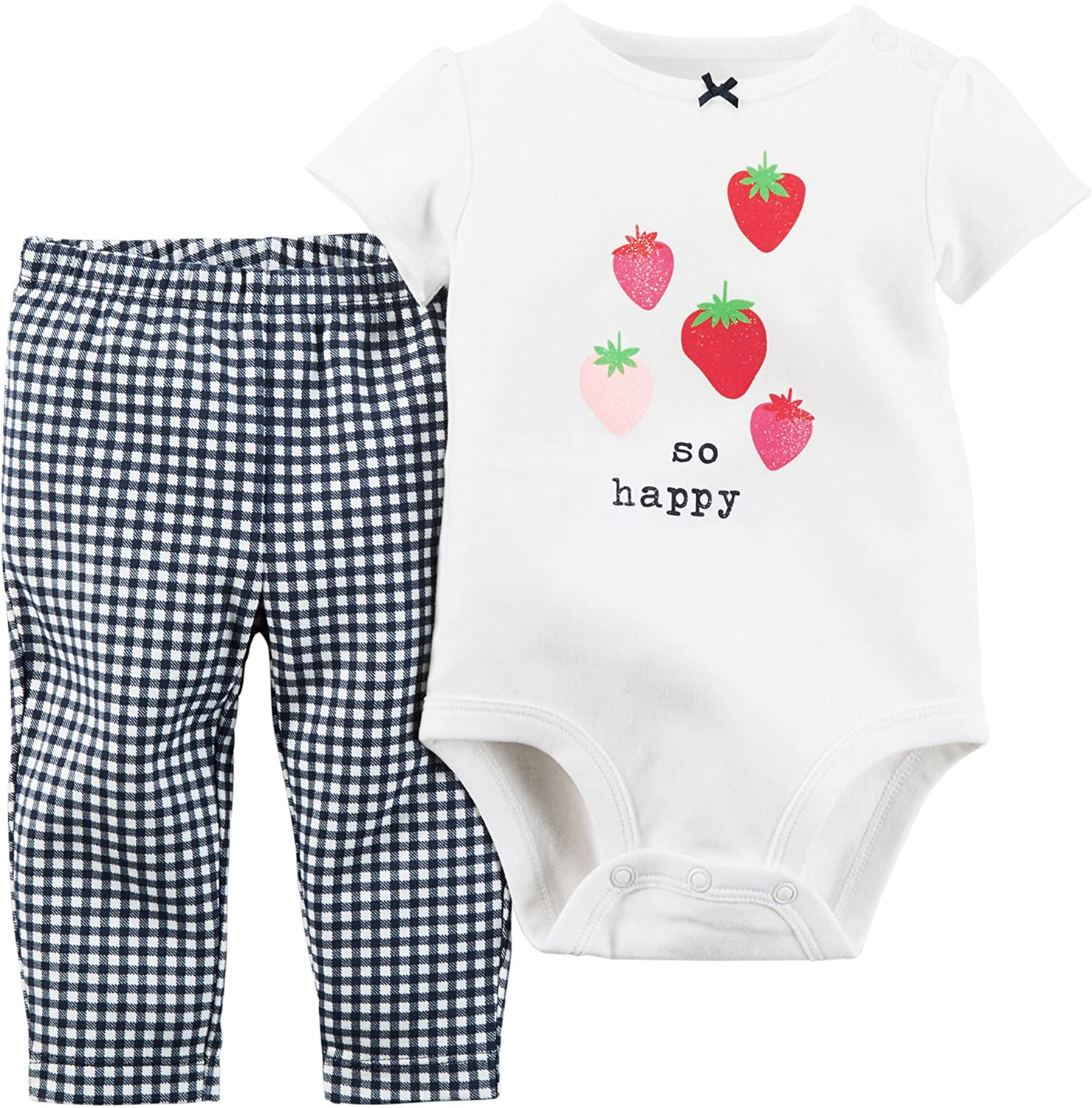 Carter's Baby Clothing Outfit Girls 2-Piece Bodysuit & Pant Set So Happy White 18M