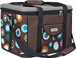 anndora Kühltasche XL braun hellblau 40 Liter – Kühlbox Isoliertasche Picknicktasche