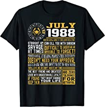 Best Born in July 1988 Facts Shirts for Mens, Womens T-Shirt