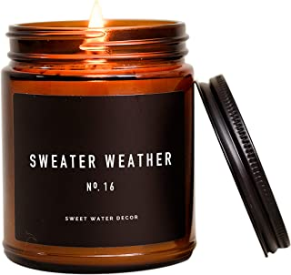 Sweet Water Decor Sweater Weather Candle | Woods, Warm Spice, and Citrus Autumn Scented Soy Wax Candle for Home | 9oz Ambe...