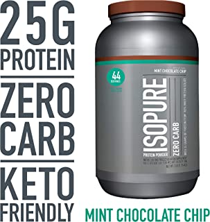Isopure Zero Carb, Keto Friendly Protein Powder, 100% Whey Protein Isolate, Flavor: Mint Chocolate Chip, 3 Pounds