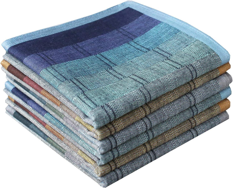 Mens Luxury 100% Cotton Handkerchiefs Plaid Pack