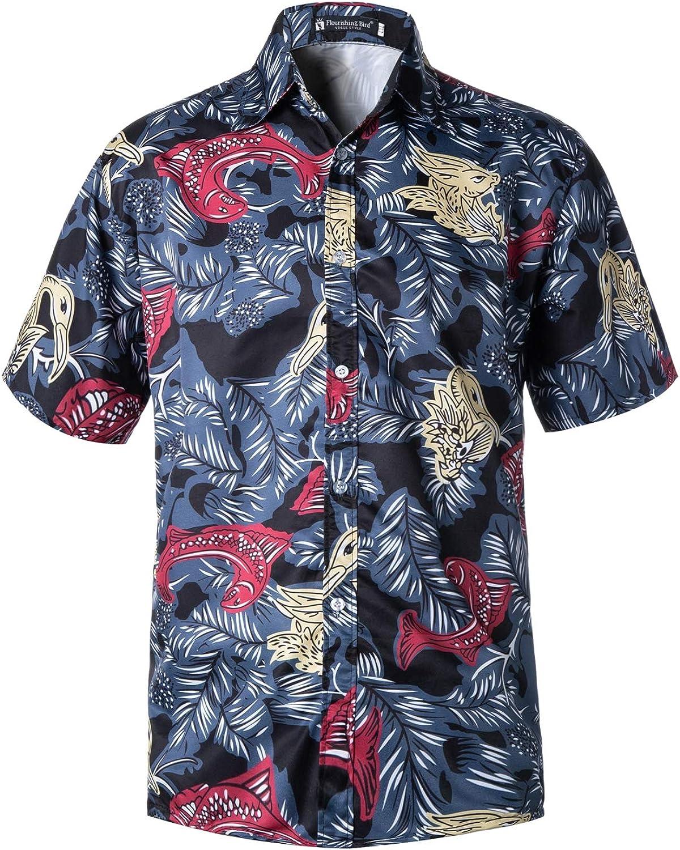 Men's Hawaiian Shirt Short Sleeve Plus Size Button Down Shirt Tropical Floral Aloha Shirt