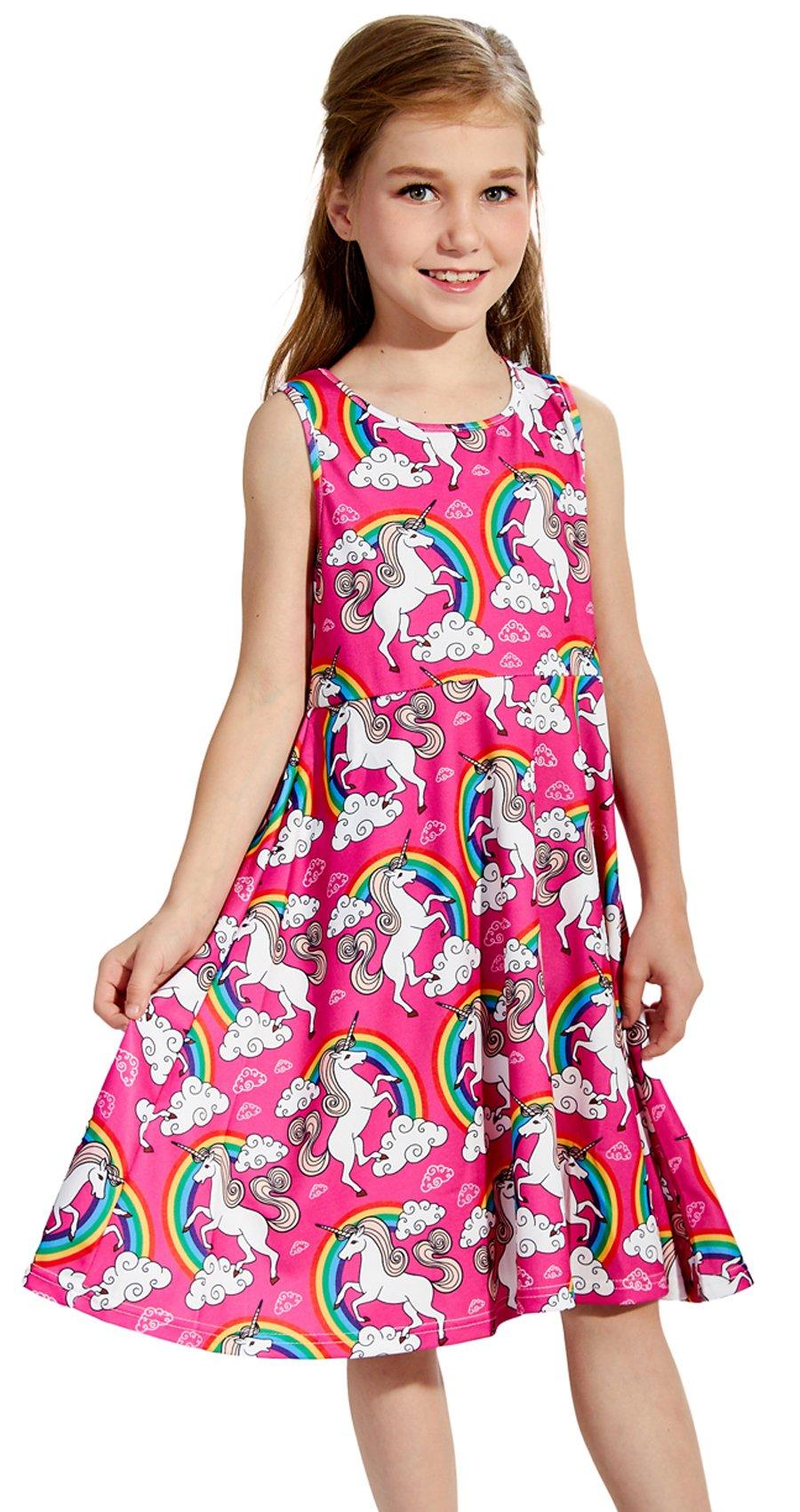 ALOOCA Girls Sleeveless Dress Round Neck Floral Printed Cartoon Dress Casual Holiday Party Sundress 4-13 Years