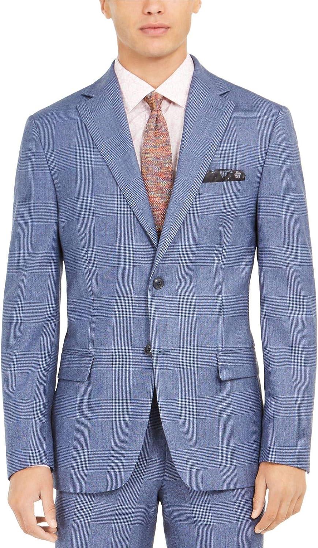 Tallia Mens Wool Blend Pid Suit Jacket Blue 44S