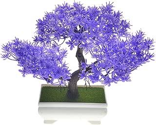 Rabinyod Bulan 18cm Bonsai Tree in Square Pot Artificial Plant Decor for Office/Home Desk (Purple)