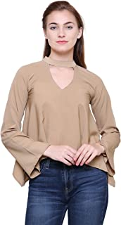 MIZAGO Casual Full Sleeve V-Neck Solid Women's Beige Top