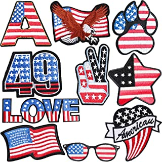 USA Flag Embroidered Patches for Kids Mix Iron on Patches Assorted DIY Applique Heat Transfer Stickers Decorative Number L...