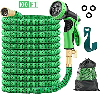 JSK Expandable Garden Hose 100FT - Superior Strength 3750D Fabric Flexible No Kink Garden Hose with 3-Layers Latex Core 3/4 Inch Brass Connectors 9-Function Spray Nozzle Water Hose