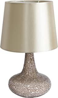 Simple Designs LT3039-CHA Mosaic Tiled Glass Genie Fabric Shade Table Lamp, Champagne