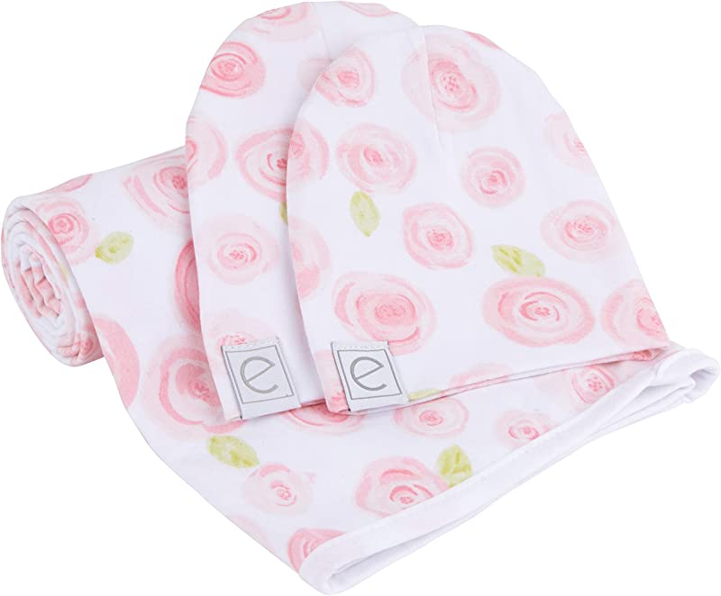 Cotton Knit Jersey Swaddle Blanket And 2 Beanie Baby Hats Gift Set Large Receiving Blanket By Ely S Co Rose Print