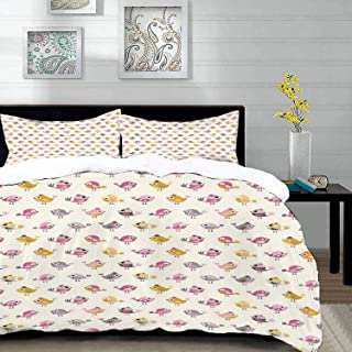 bedding - Duvet Cover Set,Baby,Cartoon Style Birds with Fancy Funny Animals with Accessories Top Hat Flowers,Hypoallergeni...