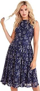 Vestido de Encaje Floral de Dos Tonos con Espalda Baja