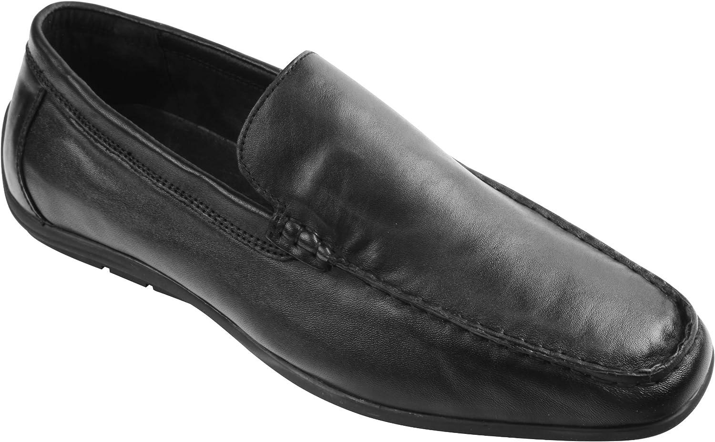 Wizfort Black Loafers for Men, Soft Leather Loafers Men Slip On shoes - Comfort