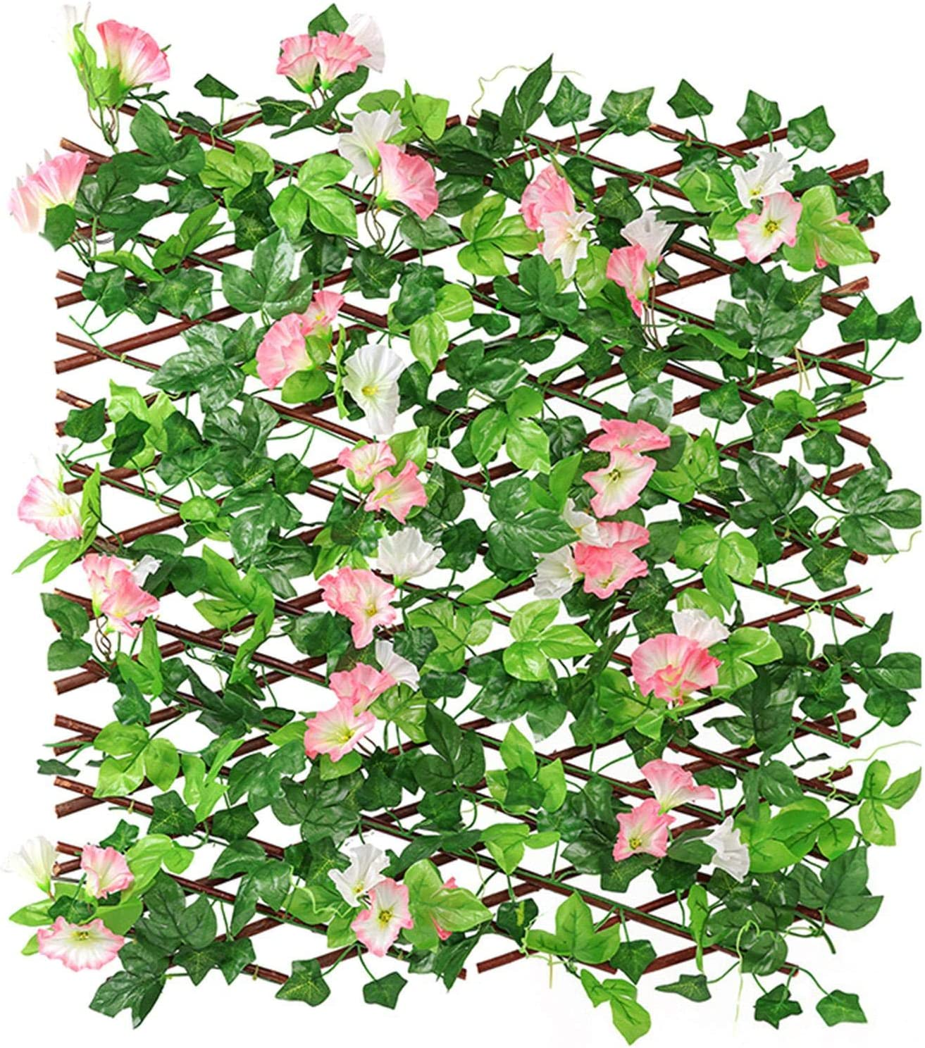 Poiuqew Trellis Fence Panels safety Max 78% OFF with and Leaves Flowers Artificial