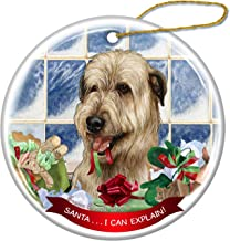 Wheaten Irish Wolfhound Dog Porcelain Hanging Ornament Pet Gift 'Santa.. I Can Explain!' for Christmas Tree and Year Round