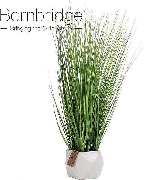 Bornbridge Artificial Grass Plant Fake Plant In Planter Faux Grass Plant With Ceramic Geometric Planter Artificial Potted Plant 1 Pack Grass White Planter