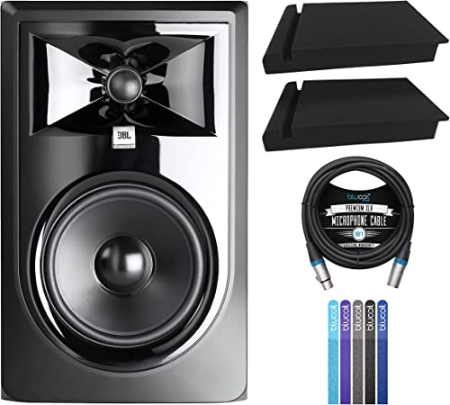"""high quality JBL Professional 306P MkII Next-Generation 6"""" 2-Way Powered Studio Monitor (Single) Bundle with Blucoil 10-FT 2021 Balanced XLR Cable, online 5-Pack of Reusable Cable Ties, and 2-Pack of Acoustic Isolation Pads sale"""