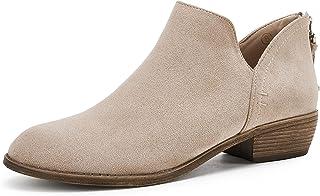 PiePieBuy Women's Ankle Boots Pointed Toe Low Heel Side Split Stacked Zipper Booties