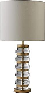 Rivet Mid-Century Modern Brass Trimmed Table Lamp with LED Light Bulb, 26