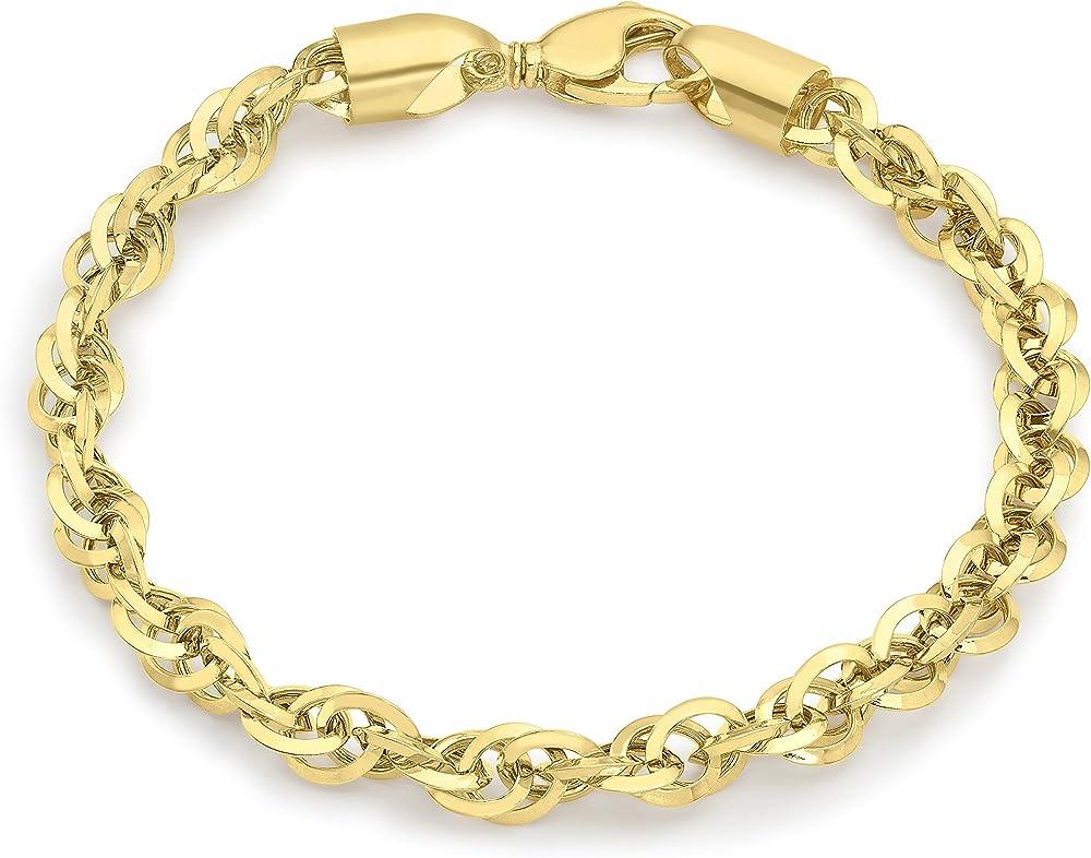 Carissima gold, bracciale unisex in oro 9 kt/375(5gr) con diamante intagliato principe di galles 1.29.4762