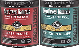 Northwest Naturals Bundle of Chicken and Beef Freeze-Dried Raw Diets for Dogs, 12 Ounces Each, Made in The USA
