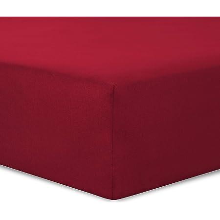 VISION Drap Housse Rouge - 140x190cm - 100% Coton