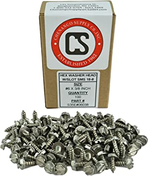 """#6 x 3//8/"""" Pan Head Sheet Metal Screws Stainless Steel Slotted Drive Qty 1000"""