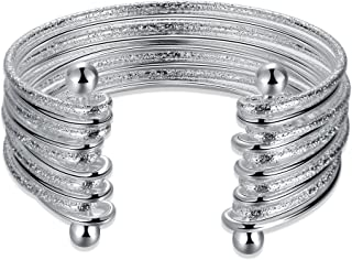 اساور بانجل عريضة للنساء مصنوعة من الفضة الاسترليني 925 من جهوزاي، سوار زينة بانجل بفتحة مجوفة للنساء
