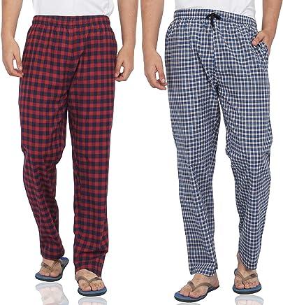 Fflirtygo Mens Pyjama Cotton Combo, 100% Cotton Export Quality Fabric, (Pack of 2) Sleep Pants, Pyjama for Men, Night Wear Pajama - Blue and Red Color Combo Packa