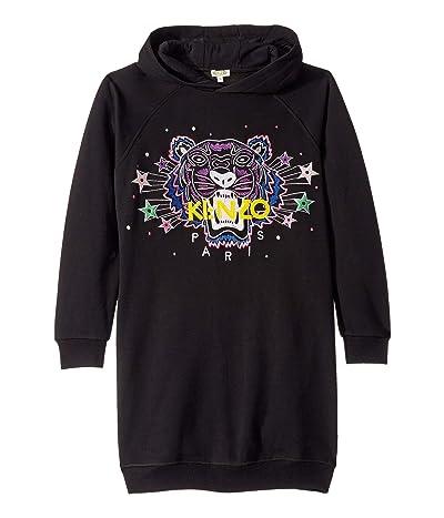 Kenzo Kids Hooded Jumper Dress with Purple Tiger and Stars (Big Kids) (Black) Girl
