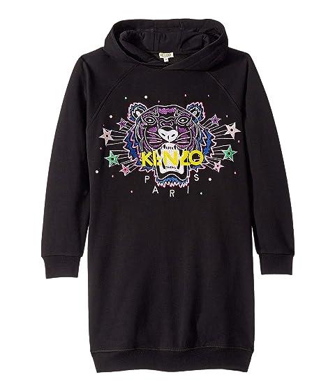 Kenzo Kids Hooded Jumper Dress with Purple Tiger and Stars (Big Kids)