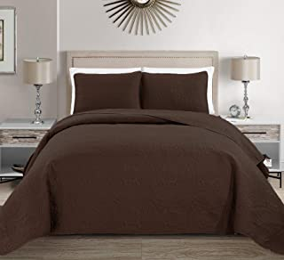 MK Home Mk Collection Solid Embossed Bedspread Bed Cover Over Size (Coffee/Dark Brown, King/California King)