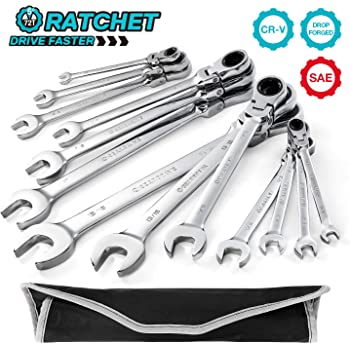 GEARDRIVE Flex-Head Ratcheting Combination Wrench Set, SAE, 13-piece, 5/16'' to 1'', Chrome Vanadium Steel Construction with Rolling Pouch