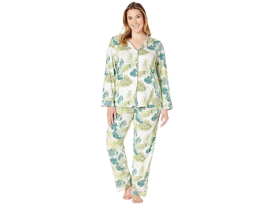 BedHead Pajamas Plus Size Long Sleeve Classic Notch Collar Pajama Set (Island Palm) Women