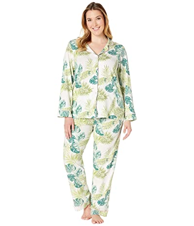BedHead Pajamas Plus Size Long Sleeve Classic Notch Collar Pajama Set (Island Palm) Women