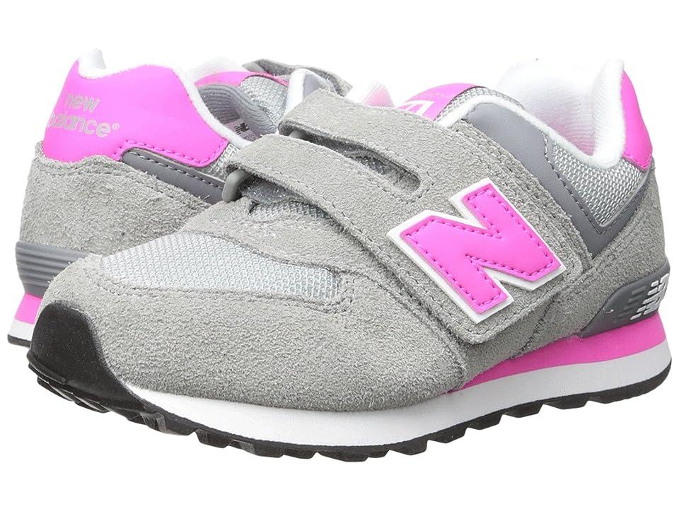 New Balance Kids 574 (Little Kid/Big Kid) (Grey/Pink) Girls Shoes