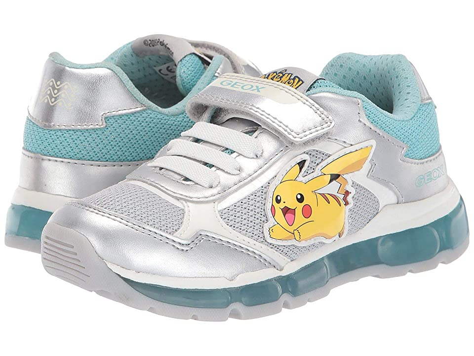 Geox Kids Android Girl 22 (Little Kid) (Silver/Aqua) Girl