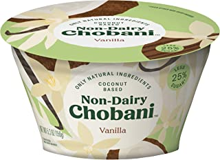 Chobani Non-Dairy 25% Less Sugar Coconut Based Yogurt 5.3 ounces Pack of 12 (Vanilla)