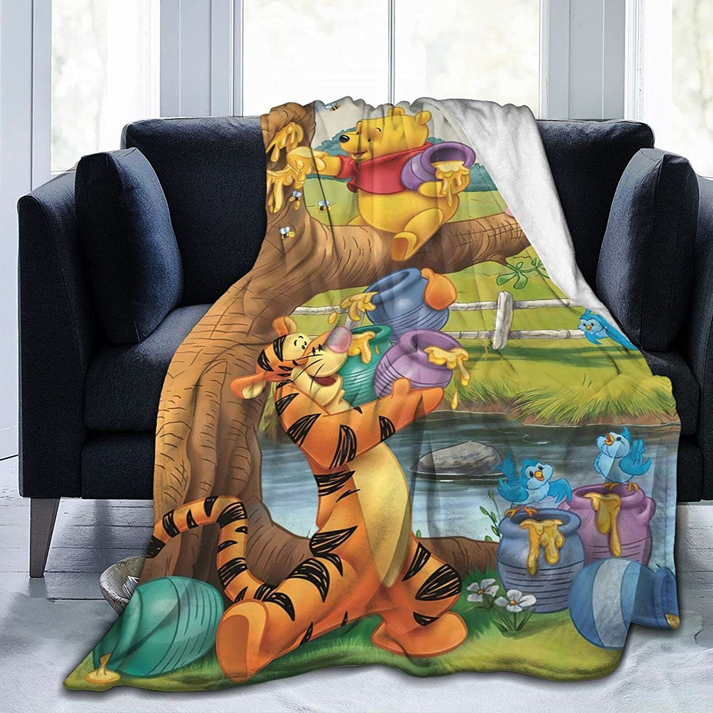 Cartoon Max 45% OFF Winnie Bear Soft Our shop most popular Flannel Blanket All-Seas Couch Blankets