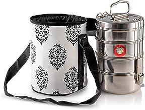 4 baldas de madera de tama/ño grande Tiffin con aislamiento t/érmico elefante rojo dise/ño de Tiffin bolsa para